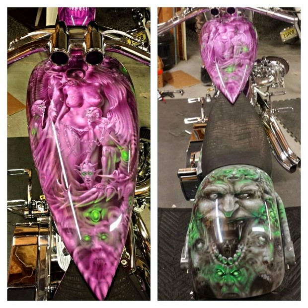 Chopper Motorcycle Tank Paint