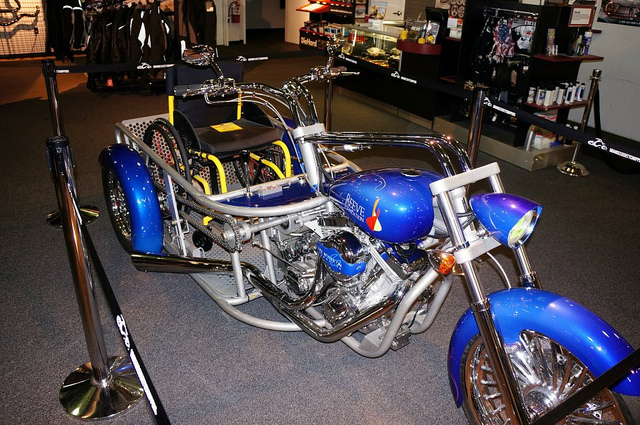 Blue Three Wheel Chopper