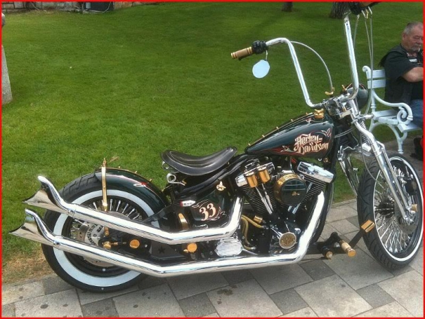 Awesome Harley Davidson Chopper With Black And Gold. All American Chopper.