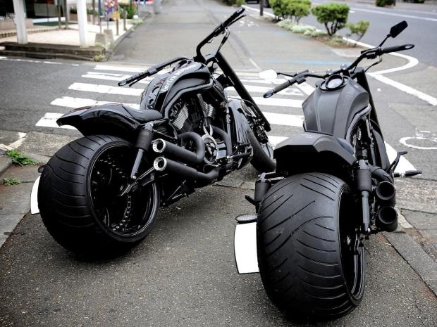 Black Fat Twins Chopper Motorcycles