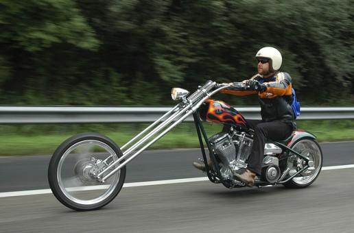 A Long Chopper Motorcycle