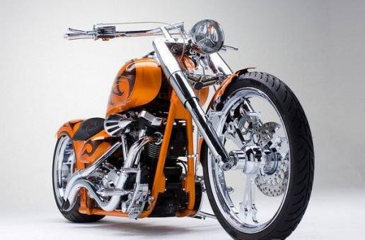 Custom Orange Chopper   Motorbike