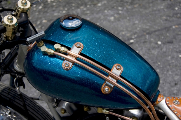 Custom Midnight Blue Paint On This Motorcycle Fuel Tank