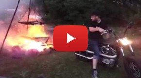 Starting a Campfire with a Motorcycle