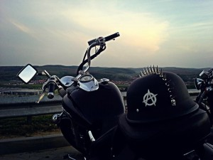 Chilling on the Chopper Motorcycle