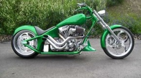 Clean and Green Chopper Motorcycle