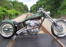 Green Custom Built Harley Chopper