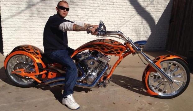 Carlos on his Big Bear Athena Chopper