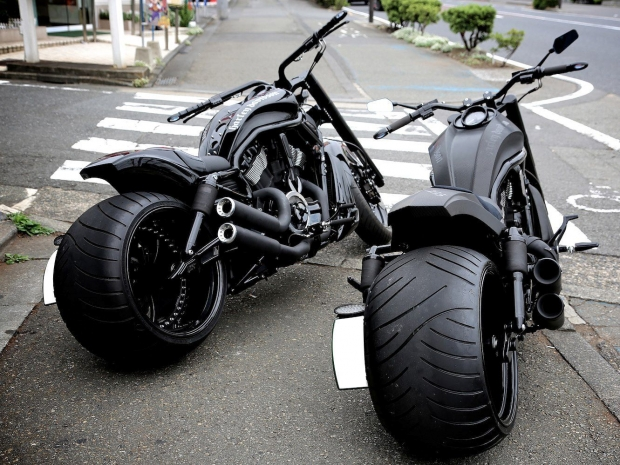 Black Fat Twins Chopper Motorcycles