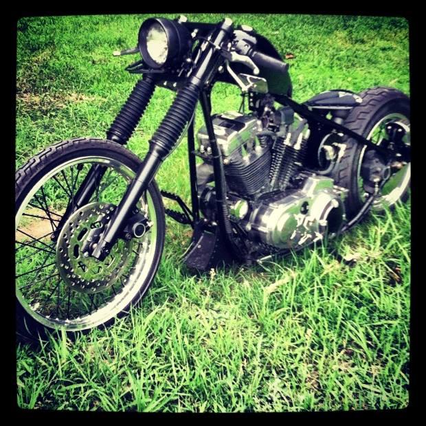 Raging Black Chopper Motorcycle