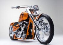 Custom Orange Chopper | Motorbike