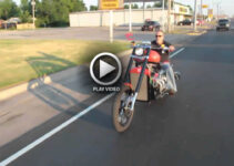 Riding V8 Chopper Motorcycle
