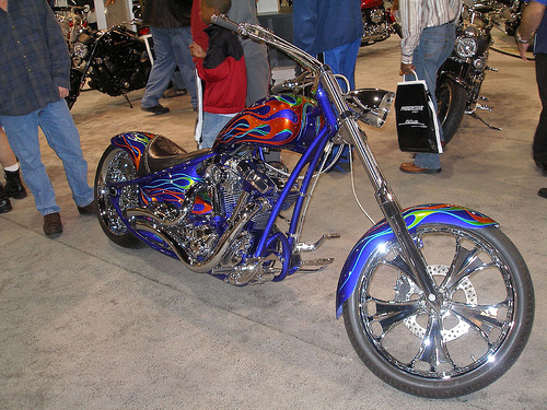 Flaming Yamaha Chopper